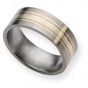 Titanium Sterling Silver Inlay 8mm Brushed Band Ring Size 10