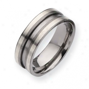 Titanium Sterling Silver Inlay 8mm Satin Band Rin Size 10.5