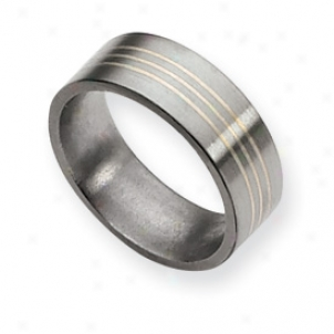 Titanium Sterling Silver Inlay Flat 8mm Brush Band Size 6.5