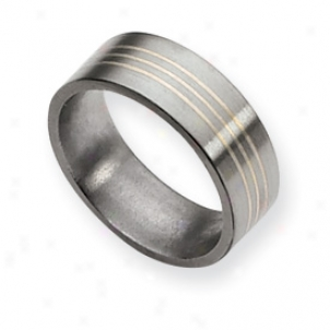 Titanium Sterling Silver Inlay Flat 8mm Brushed Band Size 10