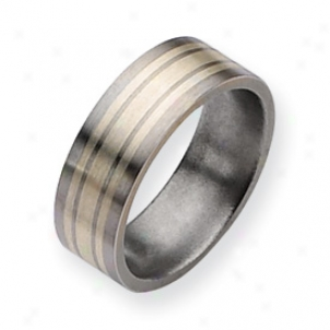 Titanium Sterling Silver Inlay Flat 8mm Brushed Band Size 11