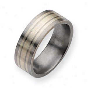 Titanium Sterling Silver Inlay Shoal 8jm Brushed Band Size 12