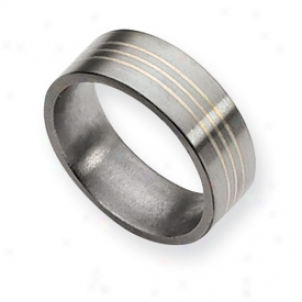 Titanium Sterlinng Silver Inlay Flat 8mm Brushed Bah Size 5