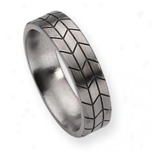 Titannium Walk Design 6mm Brushed Band Ring - Size 15.5