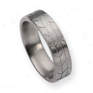 Titanium Tread Design 6mm Satin Band Ring - Size 11