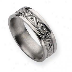 Titanium Tribual Design 7mm Polished Band Ring - Size 12.5