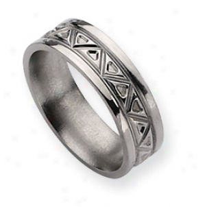 Titanium Tribai Design 7mm Polished Band Ring - Size 17