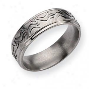Titanium Wave Design 7mm Satin Polished Band Ring Size 11.5