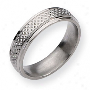 Titanium Weave Design 6mm Polshed Band Ring - Size 12