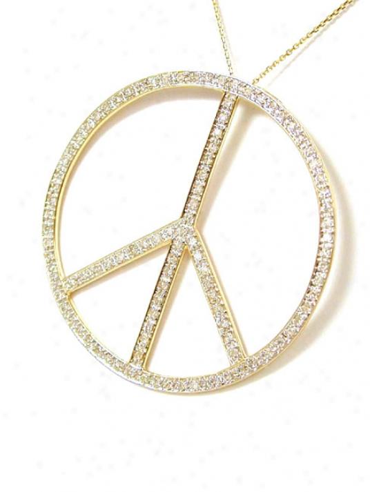 Trendy Bold Diamond Peace Sign Pendat