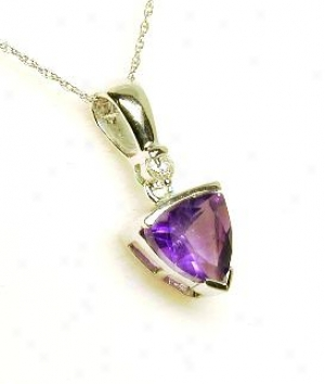 Trilliant Amethyst & Diamond Pendant