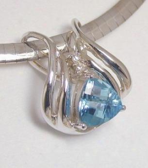 Trilliant Blue Topaz & Diamond Slide