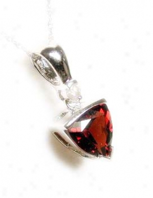 Trilliant Garnet & Diamond Pendant