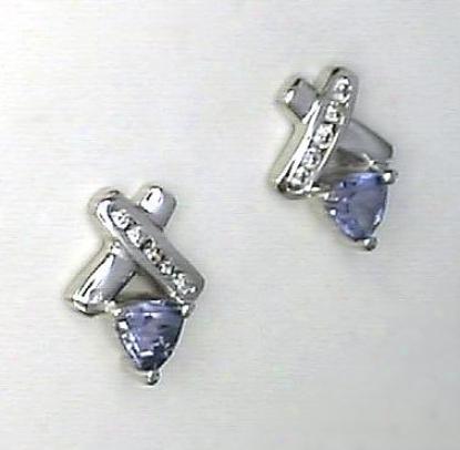 Trilliant Tanzanite & Diamond Earring