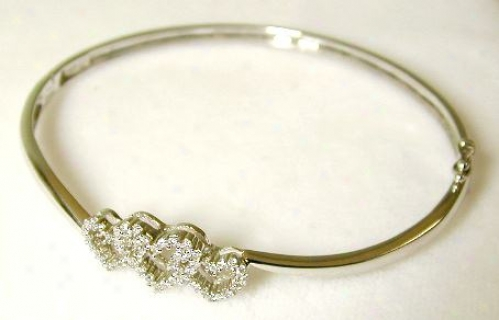 Tripie Diamond Heart Hinged Bangle