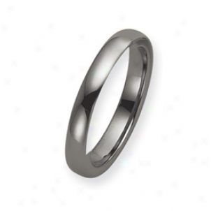 Tungsten 4mm Polished Band Ring - Size 10.5