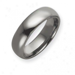 Tungsten 7mm Pllished Band Ring - Sizing 12