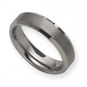 Tungsten Beveled Edge 6mm Brushed Polished Band Ring Size 7