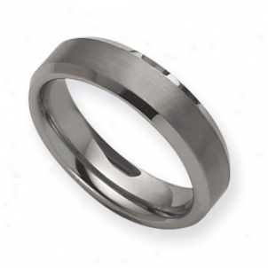 Tungsten Beveled Edge 6mm Brushed Polished Band - Size 8.5