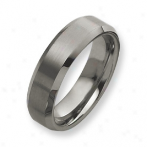 Tungsten Beveled Edge 7mm Brushed Polished Band Ring Size 12