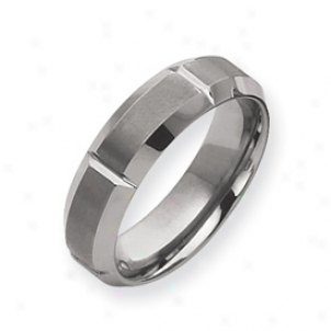 Tungsten Beveled Edge 7mm Brushed Polished Band Ring Size 9