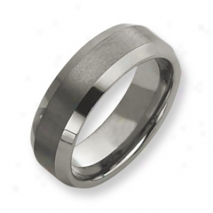 Tungsten Beveled Edge 8mm Brushed Polished Band - Size 9.5
