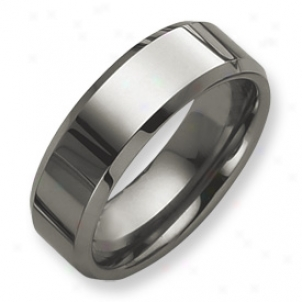 Tungsten Beveled Edge 8mm Burnished Band Ring - Size 11