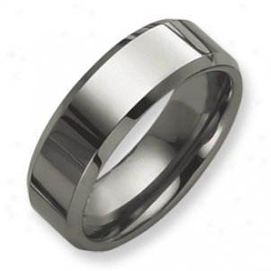 Tungsten Beveled Edge 8mm Polished Tie Ring - Size 12