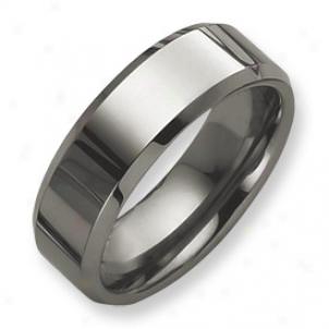 Tungsten Beveled Edge 8mm Polished Band Circle - Size 13