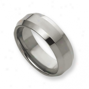 Tungsten Beveled Edge 8mm Polished Band Ring - Size 7.5