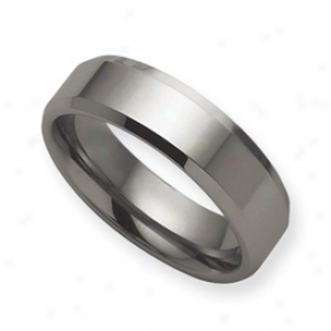 Tungsten Beveled Edge Flat 7nm Polished Band Race-course - Size 8