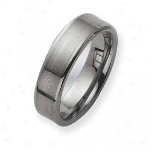 Tungsten Brushed Wedding Bandage Ring - Size 8.5