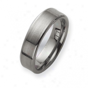 Tungsten Brushed Wefding Band Ring - Size 9