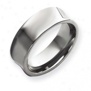 Tungsten Concave 9mm Polished Band Ring - Size 13