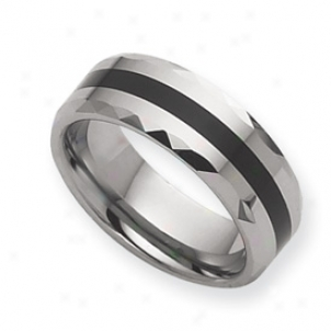 Tungsten Enameled 8mm Polished Band Rinb - Size 10