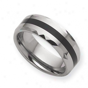 Tungsten Enameled 8mm Burnished Band Ring - Size 12