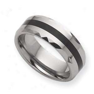 Tungsten Enameled 8mm Polished Band Ring - Sizing 13