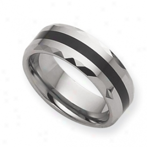 Tungsten Enameled 8mm Burnished Band Ring - Size 8