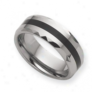 Tungsten Enameled 8mm Polished Cord Ring - Size 9