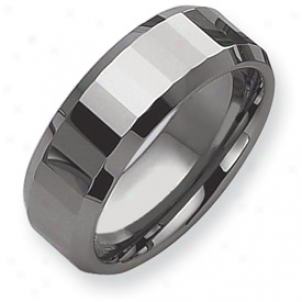 Tungsten Faceted Edges 8mm Polished Bans Ring - Size 11.5