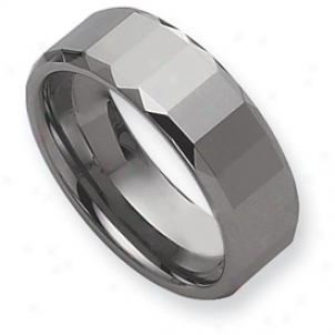 Tungsten Faceted Edges 8mm Polished Cord Ring - Size 9