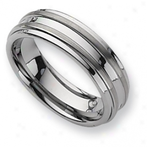 Tunsgten Grooved 7mm Brushed Polished Band Ring - Size 12.5