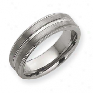 Tungsten Grooved 7mm Brushed Polished Band Ring - Size 9.5