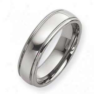 Tungsten Grooved 7mm Polisheed Band Ring - Size 12.5