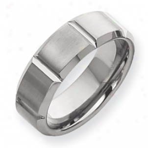 Tungsten Grooved 8mm Brushed Classic Band Ring - Size 10.5