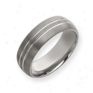 Tungsten Grooved 8mm Brushed Polished Band Ring - Size 12.5