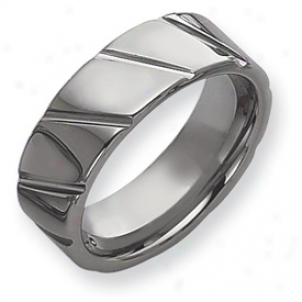 Tungsten Groo\/ed 8mm Polished Band Ring - Sizd 10.5