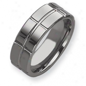 Tungsten Grooved 8mm Polished Band Ring - Size 12.5