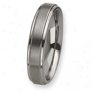 Tungsten Grooved Edge 6mm Brushed Polished Band Sound Size 6