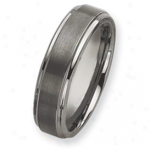 Tungsten Grooved Edge 7mm Brushed Polished Bane Ring Size 10